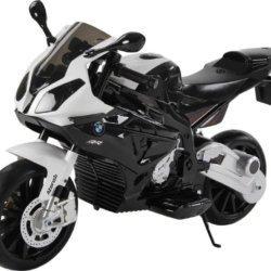 Электромобиль мотоцикл BMW S1000PR черный (колеса резина, кресло кожа, музыка)