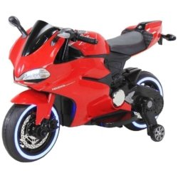 Электромотоцикл Ducati красный (колеса резина, сиденье кожа, музыка, страховочные колеса)