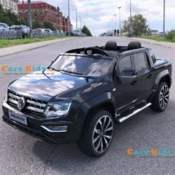 Электромобиль Volkswagen Amarok 4WD черный ( сенсорный дипслей, 2х местный, резина, кожа, пульт, музыка)